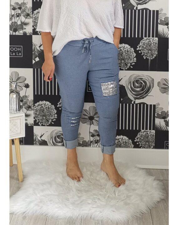 Lottie Sequin Stretch Magic Trousers - Denim