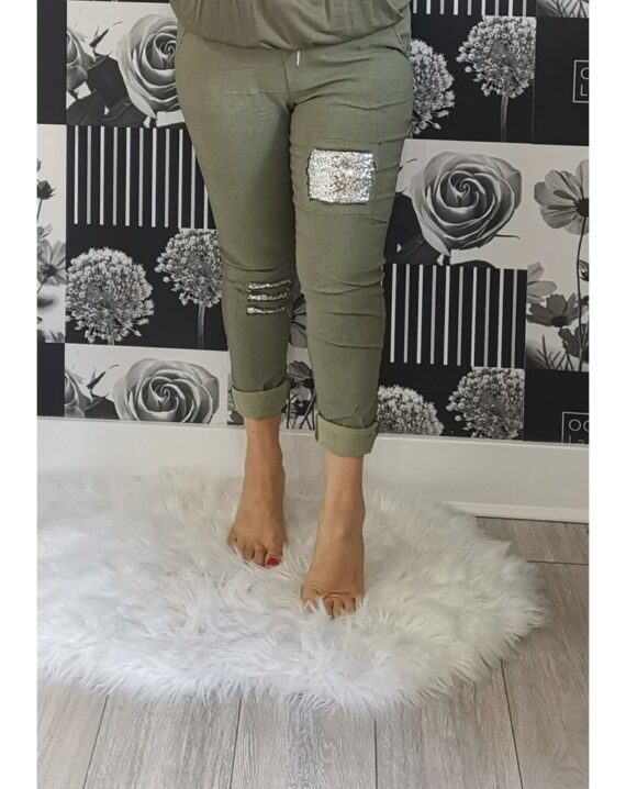 Lottie Sequin Stretch Magic Trousers - Khaki