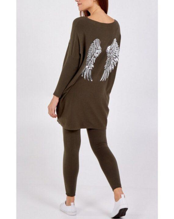 Tanisha Sequin Angel Wings Lounge Set - Khaki
