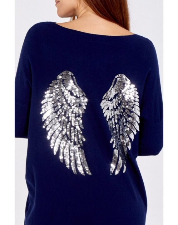Tanisha Sequin Angel Wings Lounge Set - Navy