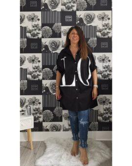 Kerry Oversized Love Slogan Shirt - Black