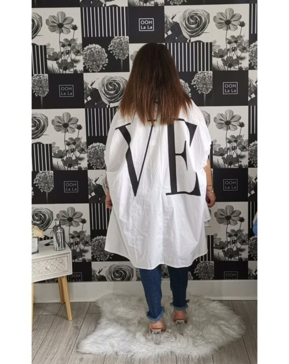 Kerry Oversized Love Slogan Shirt - White