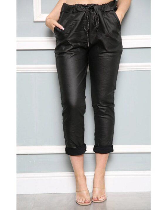 Ashley PU Stretch Magic Trousers - Black