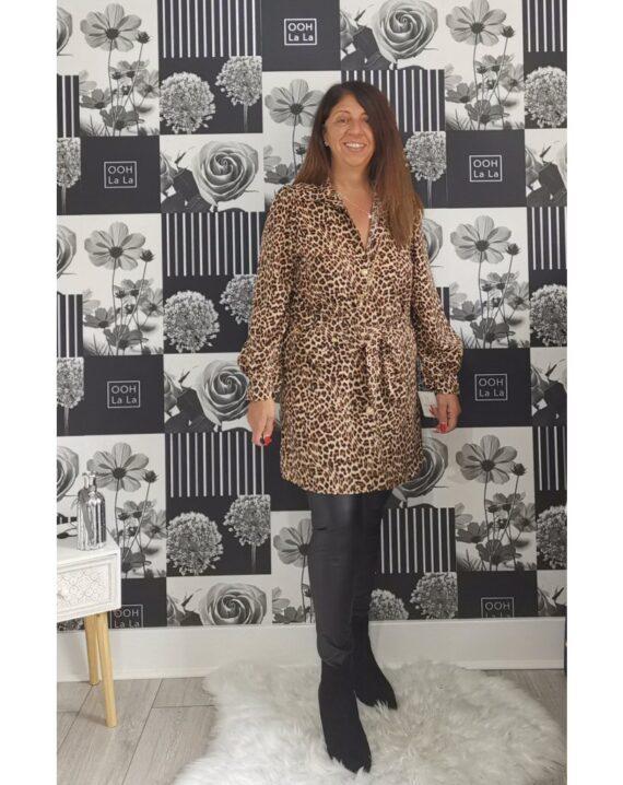 Daisy Leopard Print Shirt Dress