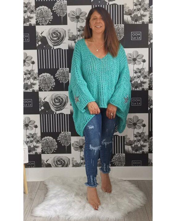 Stephanie Oversized Star Sleeve Jumper - Aqua