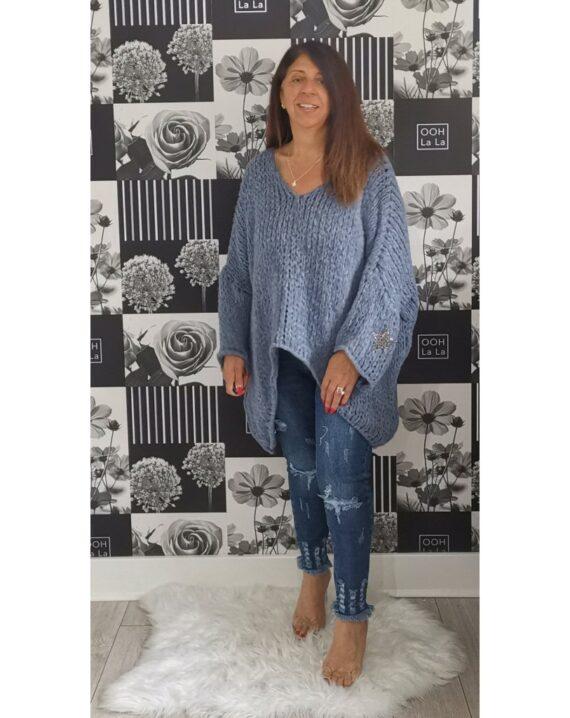 Stephanie Oversized Star Sleeve Jumper - Denim