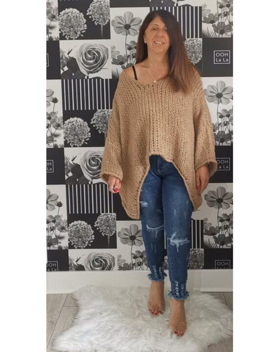 Stephanie Oversized Star Sleeve Jumper - Camel