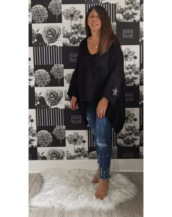 Stephanie Oversized Star Sleeve - Black