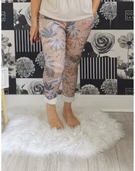 Kelly Tropical Print Stretch Magic Trousers - Mocha