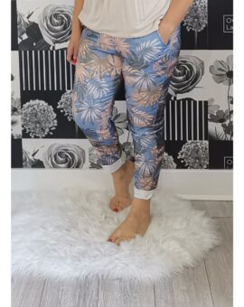 Kelly Tropical Print Stretch Magic Trousers - Blue