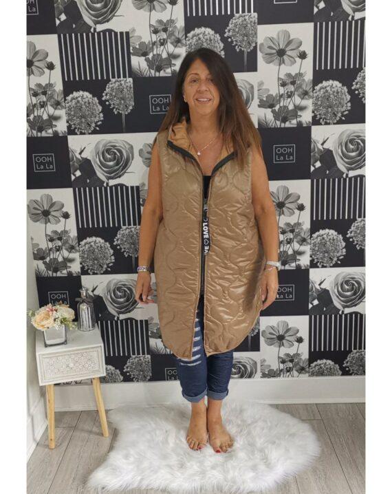Louise Hooded Gilet - Camel