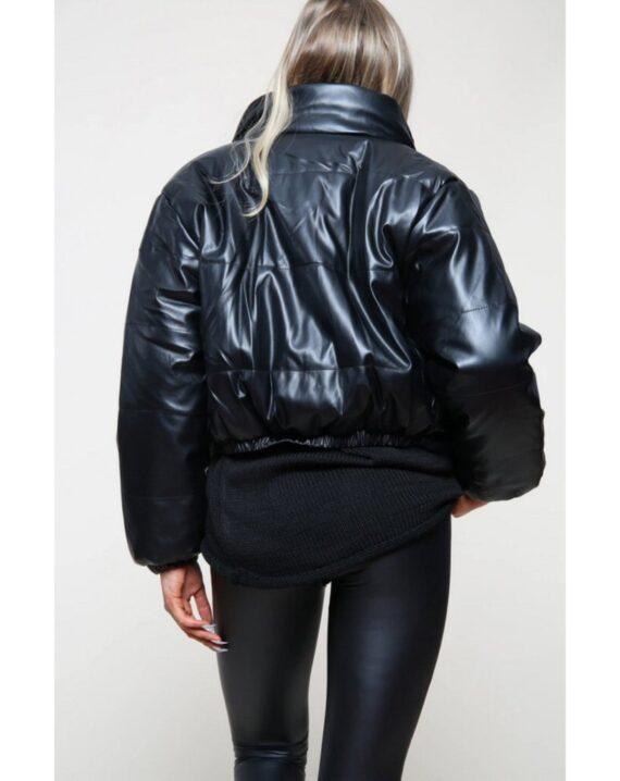 Kitty Leather Look Cropped Jacket