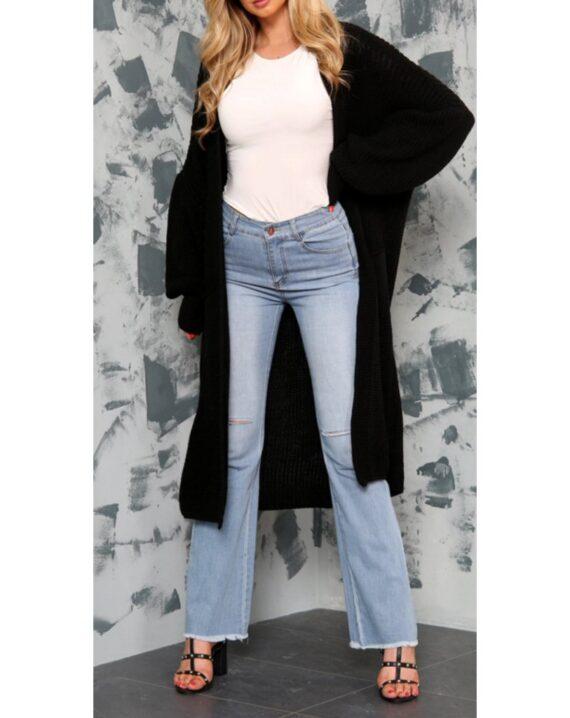 Jenny Puff Sleeve Long Cardigan - Black