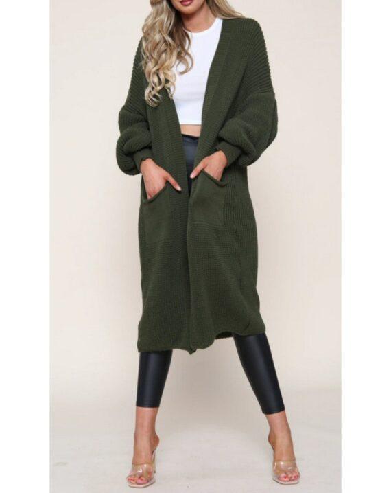 Jenny Puff Sleeve Long Cardigan - Khaki