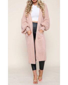 Jenny Puff Sleeve Long Cardigan - Pink