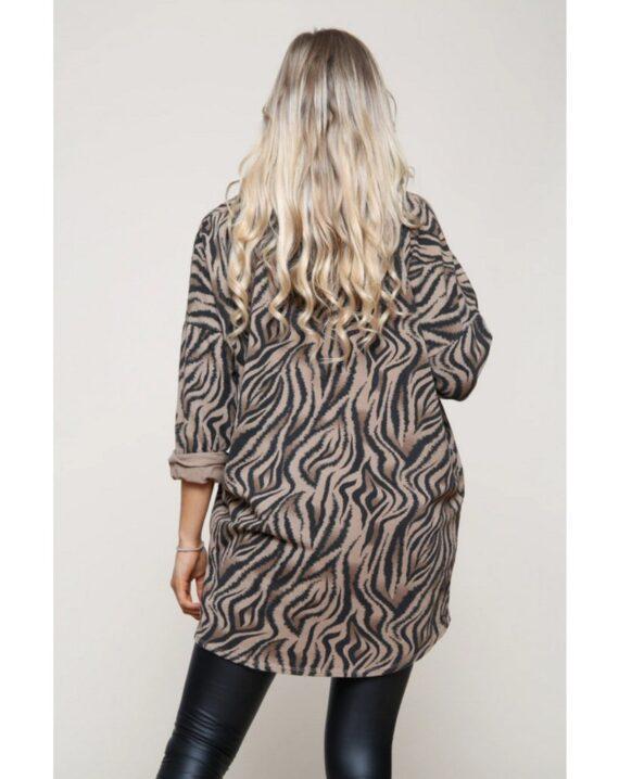 Natalie Zebra Print Top - Brown