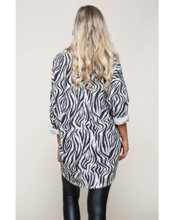 Natalie Zebra Print Top - Beige