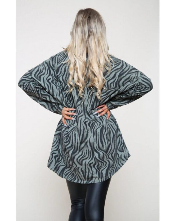 Natalie Zebra Print Top - Khaki