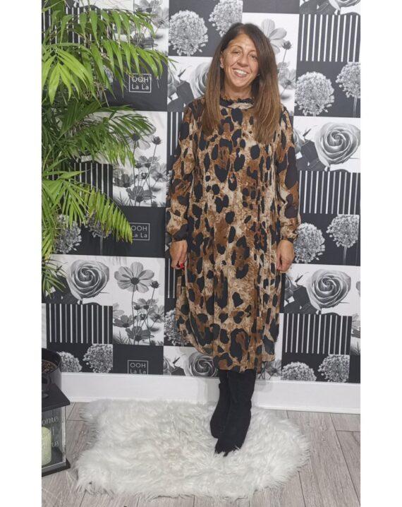 Carmen Pleated Animal Print Dress - Brown