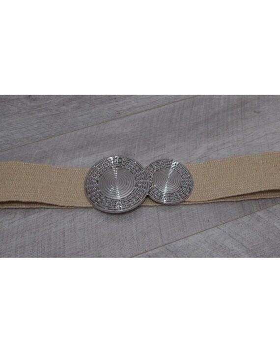 Honey Double Swirl Buckle Belt - Cream/Silver