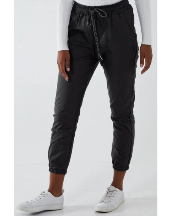 Ashley Cuffed PU Magic Trousers - Black