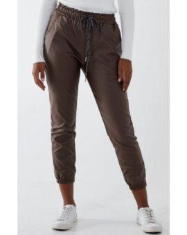 Ashley Cuffed PU Magic Trousers - Chocolate