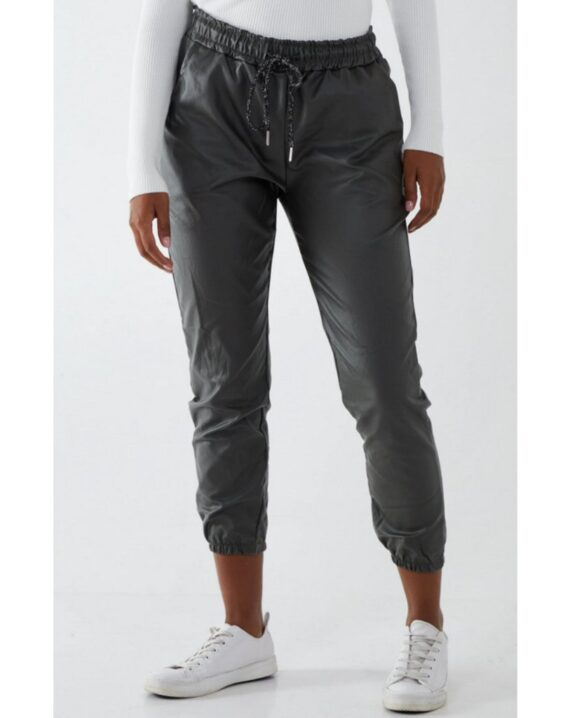 Ashley Cuffed PU Magic Trousers - Khaki