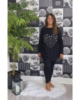 Wendy Sequin & Stud Heart Lounge Set - Black