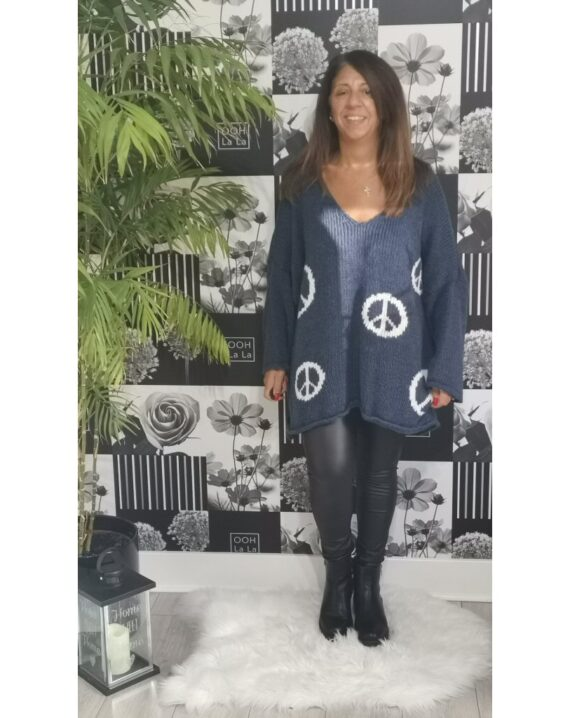 Lexi Peace Logo Jumper - Denim
