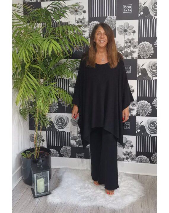 Joanna Luxury Poncho Lounge Set - Black