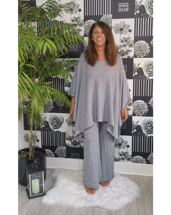 Joanna Luxury Poncho Lounge Set - Grey