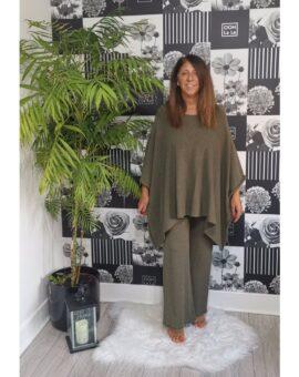 Joanna Luxury Poncho Lounge Set - Khaki