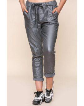 Ashley PU Stretch Magic Trousers - Silver Grey