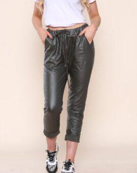 Ashley PU Stretch Magic Trousers - Khaki