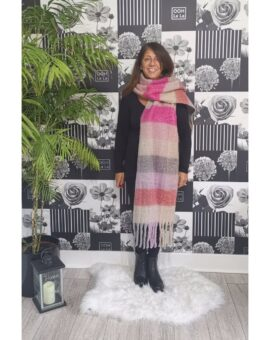 Bronte Checked Print Winter Scarf - Pink