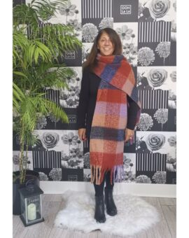 Bronte Checked Print Winter Scarf - Rust