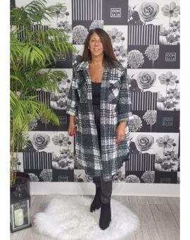 Deana Longline Checked Shacket Coat